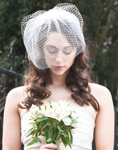 Double Birdcage Veil .Contrasting Layers of Illusion and Birdcage Veiling