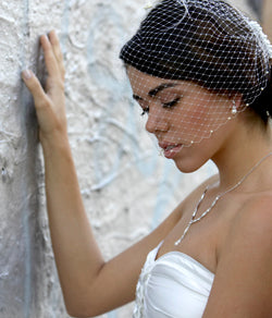 Bandeau Birdcage veil with Swarovski crystals and crystal comb