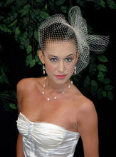 Load image into Gallery viewer, Basic Blusher Birdcage Veil with Birdcage pouf netting with hand beaded knotted and draped pearl accent.