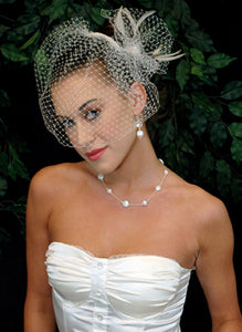 Plain Blusher Birdcage Veil with Pouf Pearl and Hackle Accent