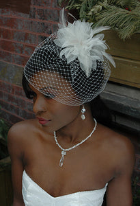 Fly Away Birdcagw with Organza Flower and Hackle Feathers