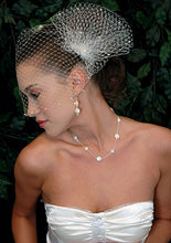 Load image into Gallery viewer, Pearl Bandeau Birdcage Veil with Triple Birdcage Pouf with Pearl Accent