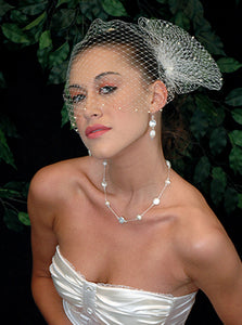 Pearl Bandeau Birdcage Veil with Triple Birdcage Pouf with Pearl Accent