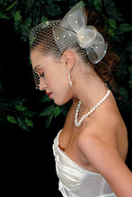 Load image into Gallery viewer, Pearl Bandeau Birdcage Veil with Horse hair and Horsehair Flat Back Pearl Sculptured Cocktail Piece