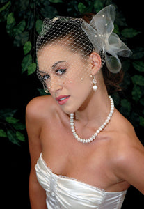 Pearl Bandeau Birdcage Veil with Horse hair and Horsehair Flat Back Pearl Sculptured Cocktail Piece