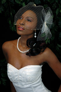 Pearl Bandeau birdcage veils with Birdcage Pouf Netting with Hand beaded Knotted and Draped Pearl Accent