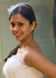Side Gather Birdcage Veil