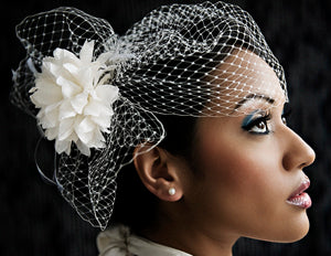 Basic Side Gather Veil with Pouf and Silk Flower with Hackle Feathers.