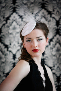 Satin Cocktail Cap with Detailing and Birdcage Poof