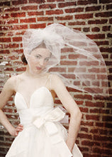 Load image into Gallery viewer, Illusion Blusher Veil with Train and Pearl Brooch