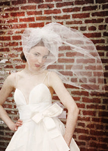 Illusion Blusher Veil with Train and Pearl Brooch