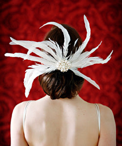 Feather and Brooch Fascinator