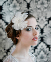 Load image into Gallery viewer, Circular Feather fascinator with vintage style brooch Center