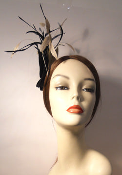 Two Tone Velour Fascinator with Coque and Biot Feathers and Vintage Style Brooch