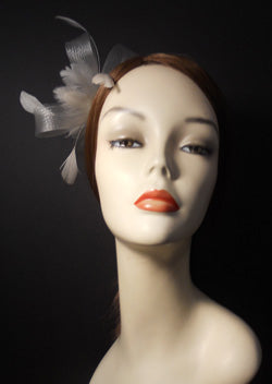 Horsehair and Feather Fascinator with Vintage Inspired Brooch