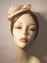 Load image into Gallery viewer, Sinimay Fascinator with Face Veil and Flower Accent