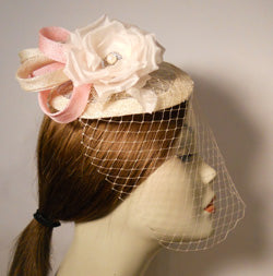 Sinimay Fascinator with Face Veil and Flower Accent