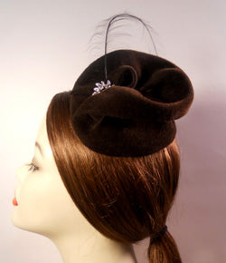 Velour Freeform Swirl Fascinator with Vintage Inspired Brooch and Feather