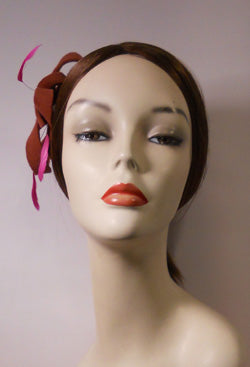 Velour Free Form Fascinator with Coque Feathers