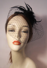 Load image into Gallery viewer, Bridal Silk Cap Fascinator with Face veil and Feathers