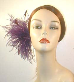 Ostrich Pouf Fascinator with Coque Feathers and Vintage Inspired Brooch