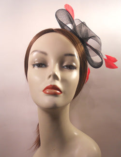 Horsehair Fascinator with Coque Feathers and Rhinestone Brooch Center