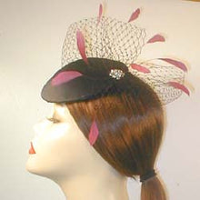 Load image into Gallery viewer, Satin Fascinator with Birdcage Veiling ,Vintage Inspired Brooch and Coque Feathers