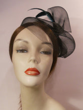 Load image into Gallery viewer, Horsehair Crinoline Fascinator with Coque Feathers.