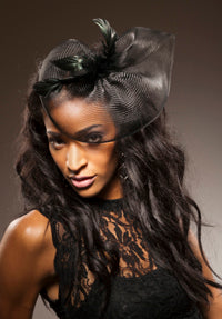Horse Hair Fascinator with Long Iridescent Coque Feathers