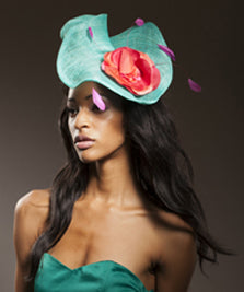 Large Sinimay Fascinator with Flower and Coque Feathers