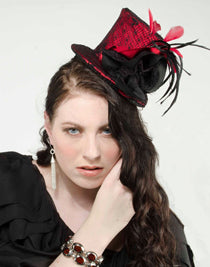 Mini Top Hat with Lace Overlay, Silk Flower and Coque Feathers