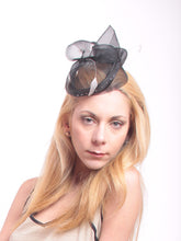 Load image into Gallery viewer, Horsehair Fascinators with Hand Beaded Crystals and Coque Feathers