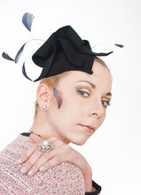 Load image into Gallery viewer, Fur Felt Freeform Fascinator With Coque Feathers