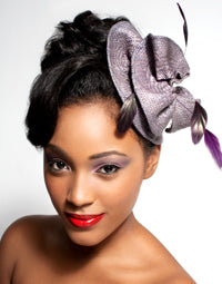 Straw Freeform Fascinator with Matching Coque Feathers