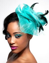 Sinimay Straw Free Form Frayed Fascinator with Coque Feathers.