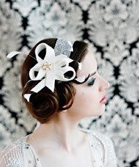 Velour Sculpture Fascinator with coque Feathers and Pearl Brooch