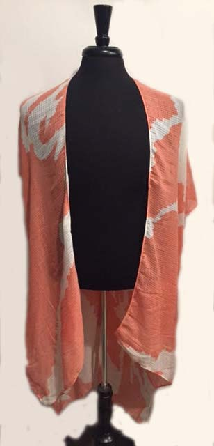 Coral Flower Kimono Cover up
