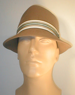 Fur Felt Tear Drop Fedora with Stripped Band and Silver Buckle