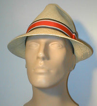Load image into Gallery viewer, Panama Pinch Front Fedora with Stripped Grosgrain Band and Bow.