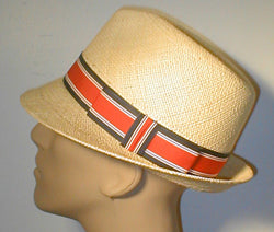 Panama Pinch Front Fedora with Stripped Grosgrain Band and Bow.