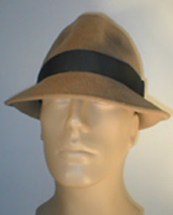 Velour Pinch Front Fedora with Vintage Ribbon Accent.