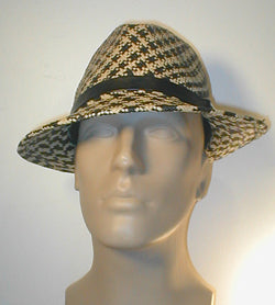Two Tone Panama Fedora with Leather Band and Silver Accent.