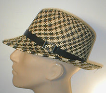 Load image into Gallery viewer, Two Tone Panama Fedora with Leather Band and Silver Accent.