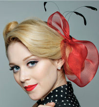 Load image into Gallery viewer, Horsehair Crinoline Freeform Fascinator with Coque Feathers