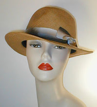Load image into Gallery viewer, Panama Fedora with Multi Grosgrain Band and Swirl Accent.
