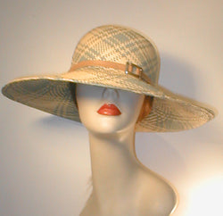 Large Brimmed Sun Hat with Leather Band and Silver Buckle.