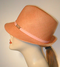 Load image into Gallery viewer, Panama Pinch Front Fedora with Leather Band and Silver Accented Buckle.