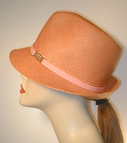 Panama Pinch Front Fedora with Leather Band and Silver Accented Buckle.