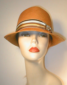 Tear Drop Panama Fedora with Stripped Grosgrain Band and Silver Butterfly Buckle