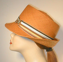 Load image into Gallery viewer, Tear Drop Panama Fedora with Stripped Grosgrain Band and Silver Butterfly Buckle